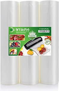 WVacFre 3Pack 11''x20' Food Saver Vacuum Sealer Bags Rolls with Commercial Grade,BPA Free,Heavy Duty,Great for Food Vac Storage or Sous Vide Cooking