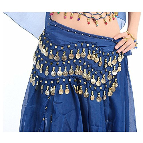 Xerhnan Belly dance belt 3 rows of 98 coins chiffon waist chain (Navy blue) - Belly Dance Costumes London