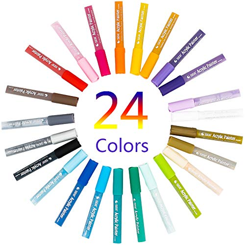 24 Colors Paint Brush pens, for Rocks Painting, Ceramic, Glass, Wood, Fabric, Canvas, Mugs, DIY Craft Supplies, Oil-Based, Medium Point Permanent Acrylic Paint Pens.