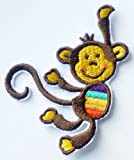 Swinging Cheeky Monkey Iron on Sew on Embroidered Patch Badge Applique Motif