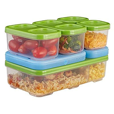 Rubbermaid LunchBlox Kids Tall Lunch Container Kit, Blue/Orange/Green, 1866739
