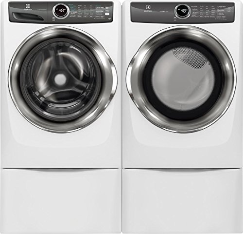 Electrolux White Front Load Laundry Pair with EFLS527UIW 27″ Washer, EFME527UIW 27″ Electric Dryer and Two EPWD257UIW Pedestal