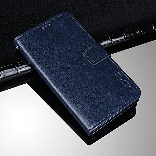 COQUE Caja del teléfono de ZTE Blade A330, billetera del tirón del cuero de imitación del estilo del libro con la caja de la ranura para tarjeta para ZTE Blade A330(Amarillo) Azul