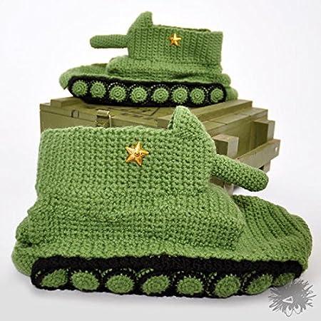 Amazon Handmade Crochet Green Tank Slippers Handknitted