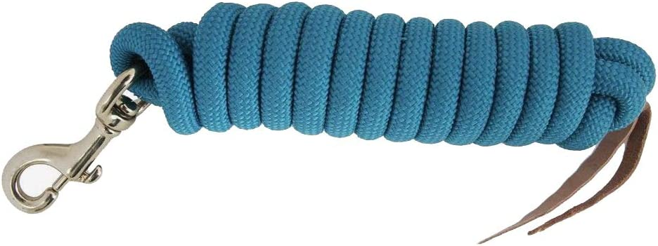 Formay Cowboy Horse Lead Rope 10x 5//8 Leather Popper Nylon Brass Bolt Snap