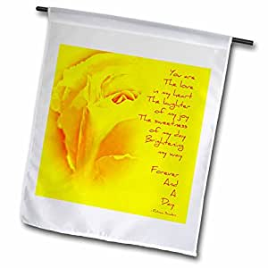 fl_54501_1 PS Inspirations - Yellow Rose Forever and a Day Poem - Poetry - Inspirational Love - Flags - 12 x 18 inch Garden Flag