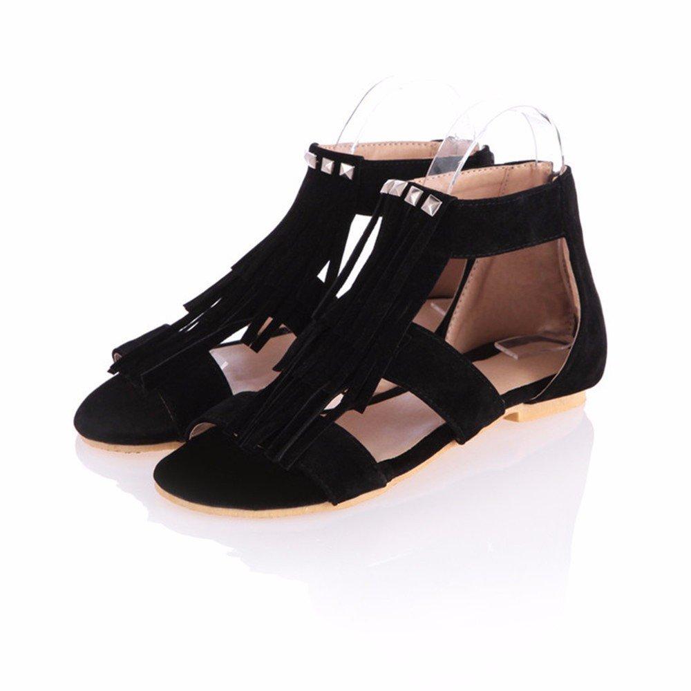 Hintere zip Damen Sandalen, Nieten, flacher Boden, der große Größe Frauen Schuhe, schwarz, 37