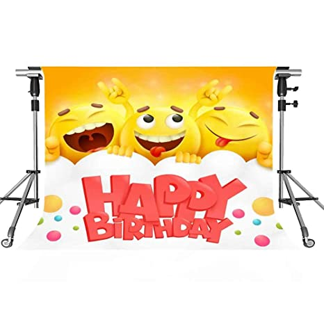 Amazon Happy Birthday Backdrop Yellow Emoji Cartoon