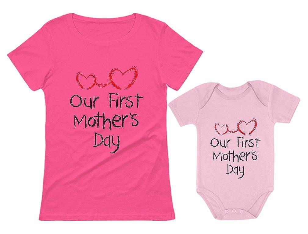 Tstars Our First for Mom & Baby Matching Set Bodysuit & Women Shirt