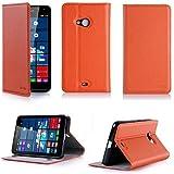 Etui luxe Microsoft Lumia 640 4G/LTE (ex Nokia) Dual Sim orange Ultra Slim Cuir Style avec stand - Housse Folio Flip Cover coque de protection Microsoft 640 orange 5 pouces - Accessoire XEPTIO case