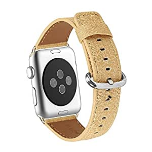 Apple Watch Band 38mm, WFEAGL Retro Top Grain Genuine Leather Band with Stainless Steel Clasp for iWatch Series 2,Series 1,Sport, Edition (Denim Yellow Band+Silver Buckle)