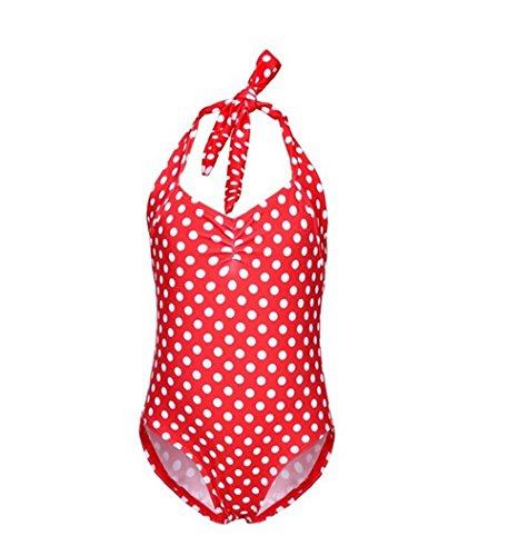 UP LURE Retro Polka Dot Toddler Baby Girls One Piece Bikini Swimwear bathing Suit (Large, Red)