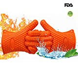 BBQ Oven Gloves, Best Versatile Heat Resistant Barbecue Silicone Gloves, Best Soft BBQ Barbecue Gloves, Cooking Gloves, Baking Gloves&Waterproof(Up to 475°F)