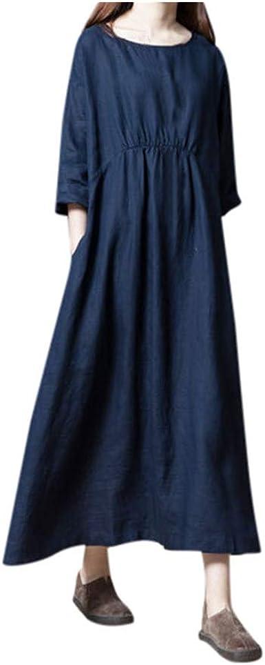 MERICAL Vestido de algodón y Lino Plisado de Manga Corta de Tres ...