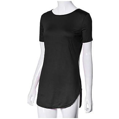 cb42fcd060b Jamiacy Women s Sexy Tops Short Sleeve Side Slit Casual T Shirt Party Mini  Dress Black
