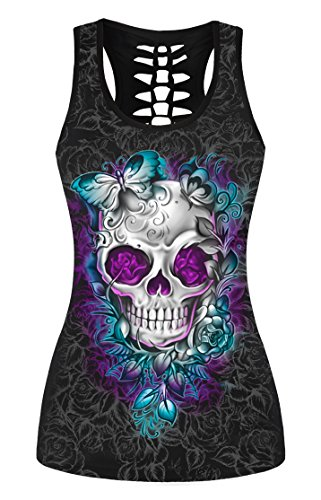 FISACE Women's Skull Print Hollow Out T-shirt Crew Neck Sleeveless Plus Size Tank Top – Small, Blue 01