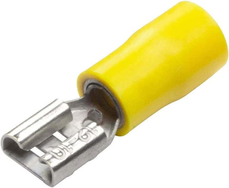 9.5 mm YELLOW FEMALE SPADE FULLY INSULATED CRIMP CONNECTORS