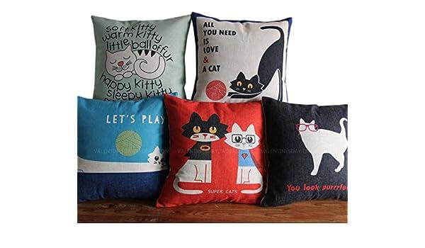 Amazon.com : Funda Almohada Cubierta Cojin Estampado Gato ...