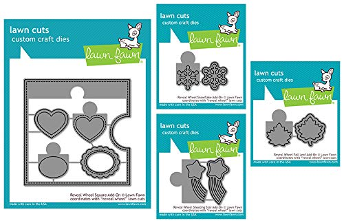 (Lawn Fawn Reveal Wheel Add-ONS - Square Card Shape, Shooting Star, Fall Leaf and Snowflake Frames and Windows - 4 Items)