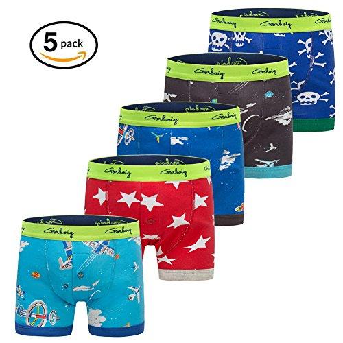 Gorboig Boys 5-Pack Boxer Briefs Cars Truck Kids Underwear(7/8Y,Aircraft) -