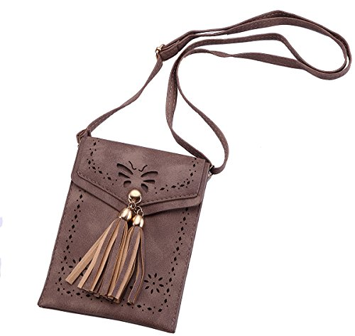 Haloyo Women's Small Crossbody Shoulder Satchels Top-handle Bags Tassel Cell Phone Purse Wallet Handbags (Dark apricot)