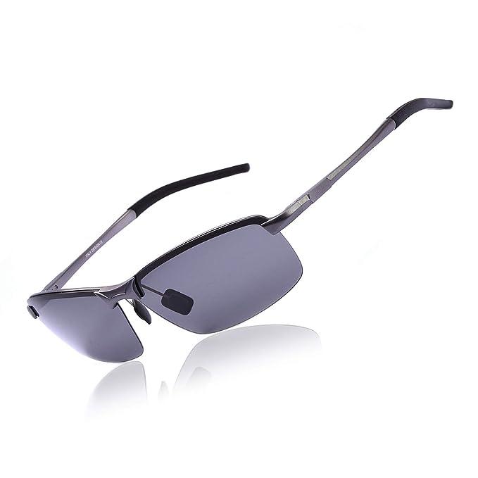 Gafas de sol Polarizadas para Hombres con Marco de Metal Al-Mg, Protección UV400