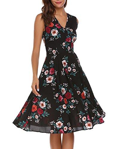 ACEVOG Womens Retro Dresses Empire Waist Party A-Line V Neck Floral Dress