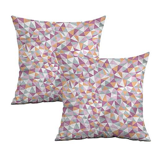 Khaki home Geometric Square Pillowcase Protector Continuous Mosaic Tiles Square Kids Pillowcase Cushion Cases Pillowcases for Sofa Bedroom Car W 18