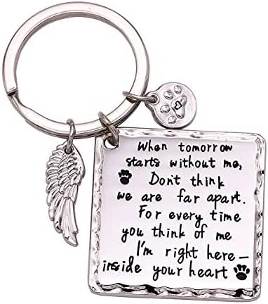Melix Home Pet Memorial Necklace Keychain, Family Loss Dog Cat Pet Jewelry