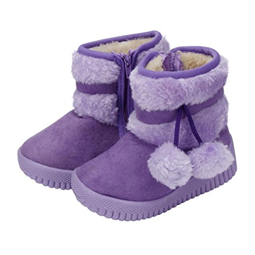 Tenworld Toddler Kids Girls Winter Boot Zipper Shoes Warm Snow Boots (21, (Shoe Size Table)