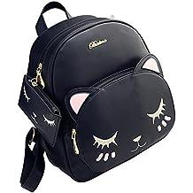 Muzuri PU Leather Girls Women's Fashion Backpack Cute Cat Crossbody Bag Shoulder Bag Tote Bag Purse
