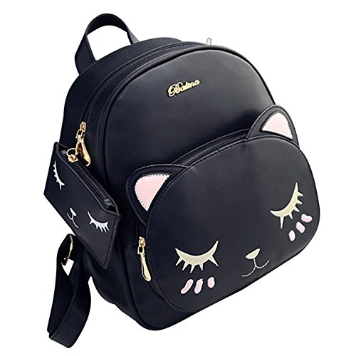 Girls Women Fashion Bags Backpack Purses Cat Shoulder Bag Crossbody Bag Tote Bag PU Leather Pouch With Mini Wallet Gift - Bag Girls Women Handbag