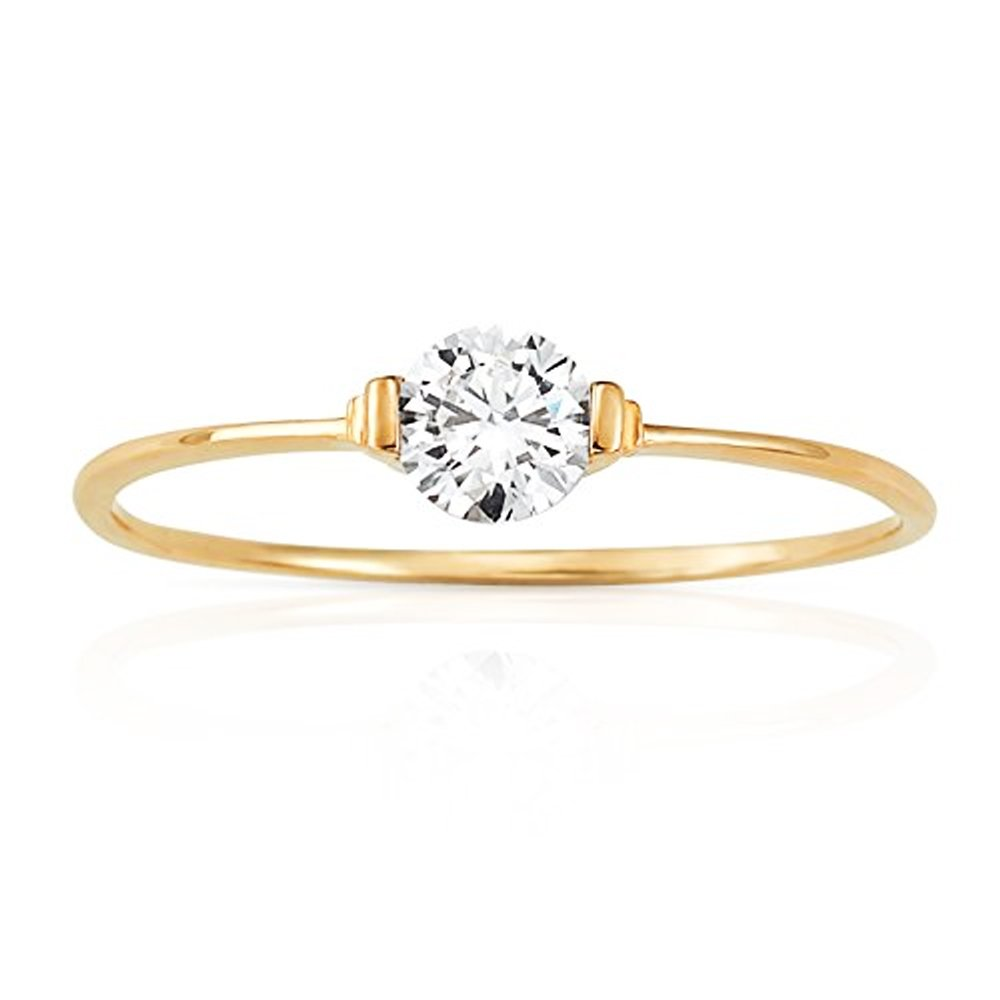 Slight Wave Solitaire CZ Stackable Promise Ring in 14K Yellow Gold (5)