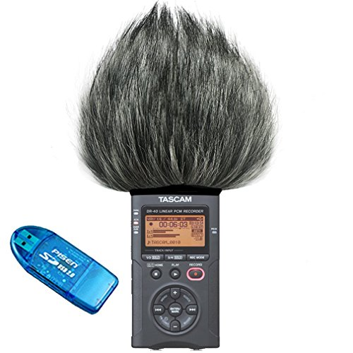 First2savvv TM-DR-40-B01 Outdoor Portable Digital Recorders Furry Microphone Mic Windscreen Wind Muff for Tascam DR-40. DR40 + SD card reader