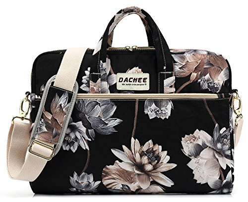 Price comparison product image DACHEE Black Lotus Pattern 15 inch Waterproof Laptop Shoulder Messenger Bag for 14 Inch to15.6 inch Laptop and Macbook Pro 15 laptop Case