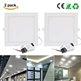 21W LED Panel Light, EnerEco Super Bright Ceiling Down Light Lamp Ultra-thin Recessed Light with LED Driver for office hotels kitchen bedroom,1700lm, Daylight 6000K, Cut Hole 7.87 Inch[2Pack]