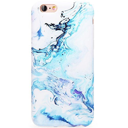 DICHEER iPhone 6 Case,iPhone 6s Case,Cute Blue White Marble Women Girls Slim Fit Thin Clear Bumper Glossy TPU Soft Rubber Silicon Cover Best Protective Phone Case iPhone 6/iPhone 6s