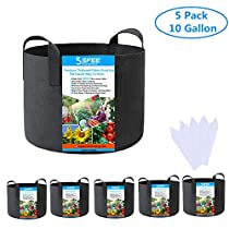 Sfee 5 Pack 3/5/7/10 Gallon Grow Bags,400GSM Thickened Non-Woven Aeration Fabric Pots Planting Container with Handles for Nursery Garden,Vegetable, Fruit, Carrot, Tomato + 5 Waterproof Labels(Black)