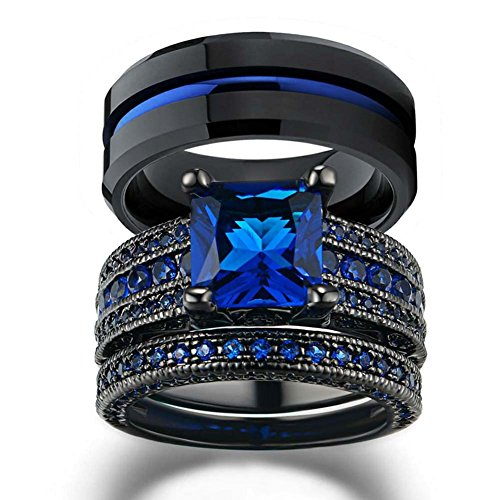 - LOVERSRING His and Hers Wedding Ring Sets Couples Rings Women 10K Black Gold Filled Blue Cz Wedding Engagement Ring Bridal Sets Men's Stainless Steel Wedding Band