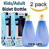 TONELIFE 2PCS Pack Kids/Adult Portable Bidet Sprayer - Travel Bidet Bottle with Convenient ON/Off Nozzle - Baby Bidet Bottle, 350 ml Capacity,English Maunal