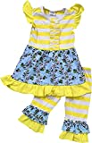 BNY Corner Toddler Girl Kids Stripe Floral Easter Dress Ruffle Pants Set Yellow 2T XS 317112