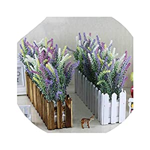 Lucky-fairy 17 Kinds Artificial Lavender Flower with Wooden Fence Vase Set Silk Flowers Home Kindergarten Window Decoration Birthday Gift 110