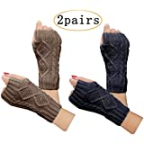 2 Pair Women's Hand Crochet Winter Warm Fingerless Arm Warmers Gloves