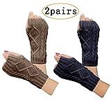 2 pair womens hand crochet winter warm fingerless arm warmers gloves