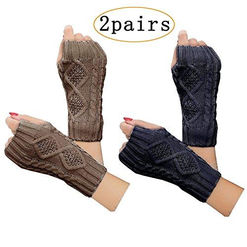 2 Pairs Women Winter Warm Knit Fingerless Gloves Hand Crochet Thumbhole Arm Warmers Mittens