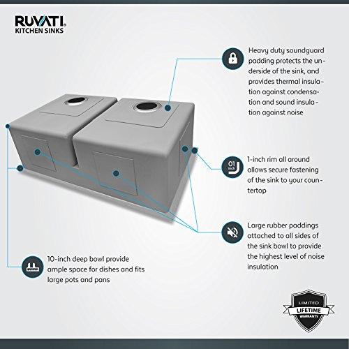 Ruvati 32-inch Low-Divide Undermount Tight Radius 50/50 Double Bowl 16 Gauge Stainless Steel Kitchen Sink - RVH7411 by Ruvati (Image #3)