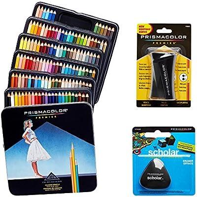 Prismacolor Set de arte de calidad. Pack de 132 lápices de colores de calidad, 1 sacapuntas de calidad y 1 goma de borrar escolar, sin látex.: Amazon.es: Hogar