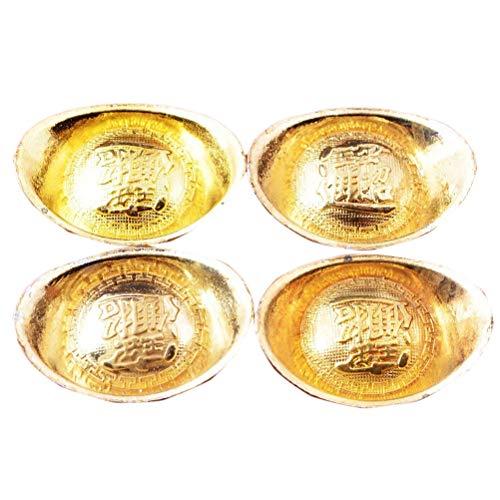 4pcs Feng Shui Brass Gloden Ingots 1×1.3 Inch W Fengshuisale Red String Bracelet (Y1075)