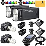 GODOX AD200 TTL 2.4G HSS 1/8000s 2X Pocket Flash Light Double Head 200Ws with 2900mAh Lithium Battery+GODOX AD-B2 Flash Head,BD-07,GODOX XPro-N Flash Trigger Compatible for Nikon(GODOX AD200 Kit)