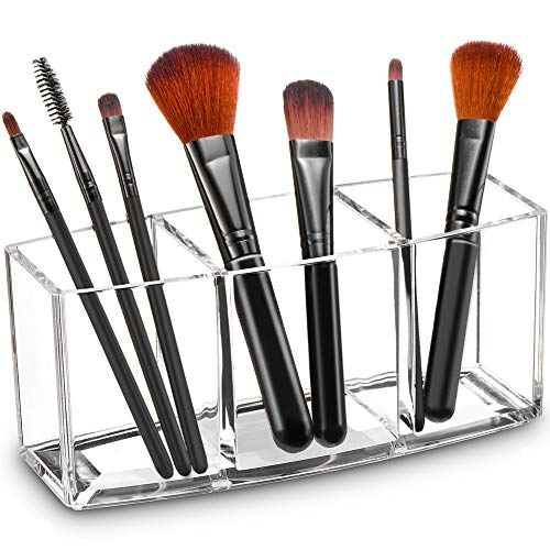 Tasybox Clear Makeup Brush Holder Organizer, 3 Slot Acrylic Cosmetic Brushes Storage, Eyeliners Eyebrow Pencil Display Case